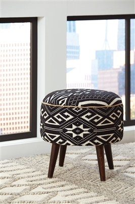 Jaki Black & White Ottoman- Hand Crafted in India
