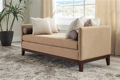 Traditional Off-White Plush Upholstered Wide Seat Accent Bench
