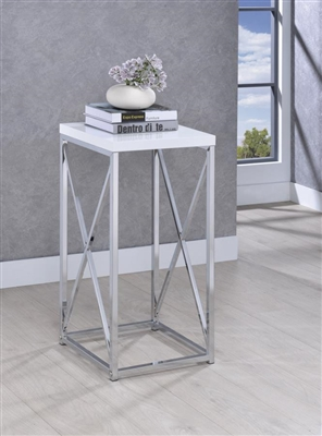 Accent Table With X-Cross Glossy White And Chrome - Coaster 930014