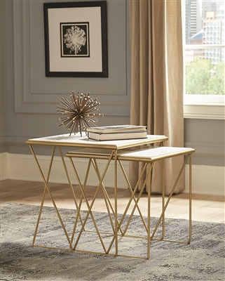 White Marble & Gold Accent Table