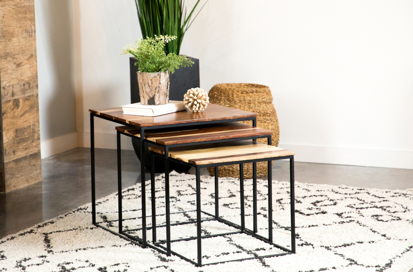 3 Piece Square Nesting Tables Natural And Black