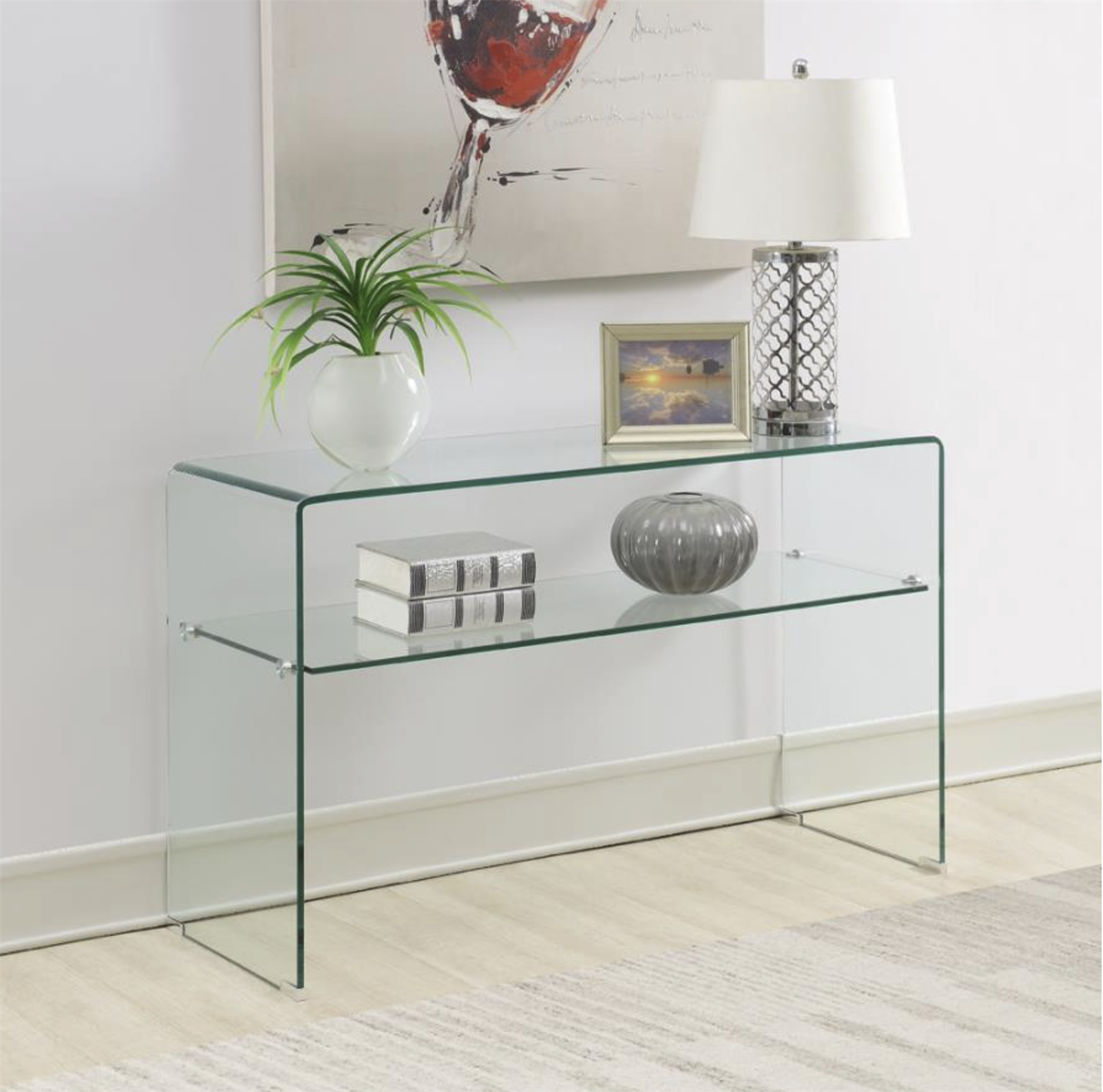 Modern Clear Glass Console Table - Coaster 935865