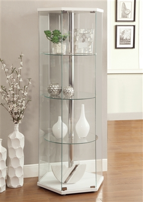 4-Shelf Hexagon Shaped Curio Cabinet White And Clear - Coaster 950001