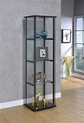 4-Shelf Glass Curio Cabinet Black And Clear - Coaster 950171