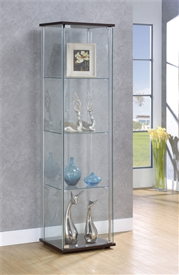 Rectangular 4-Shelf Curio Cabinet Cappuccino And Clear - Coaster 950172