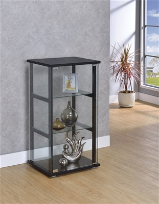 3-Shelf Glass Curio Cabinet Black And Clear - Coaster 950179