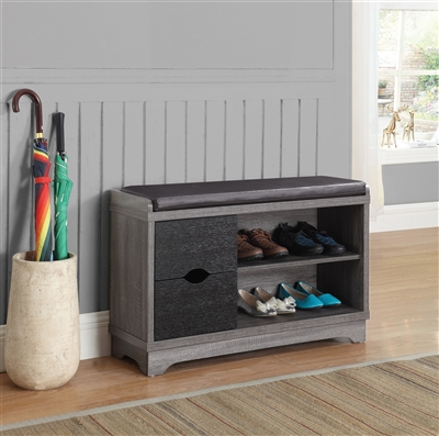 2-Drawer Storage Bench Medium Brown And Black - Coaster 950921