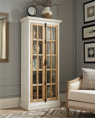 2-Door Tall Cabinet Antique White And Brown - Coaster 950965