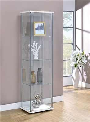 Rectangular 4-Shelf Curio Cabinet White And Clear - Coaster 951072