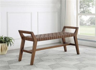 Uniquely Crafted Brown Leatherette Bench - Coaster 953302