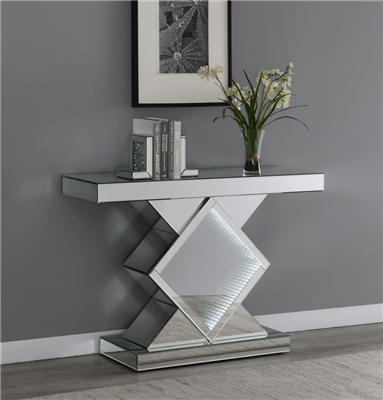 Mirrored Console Table With LED Lighting Silver - Coaster 953333