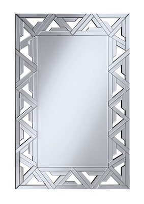 Rectangular Geometric Silver Wall Mirror