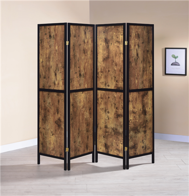4-Panel Folding Screen Antique Nutmeg And Black