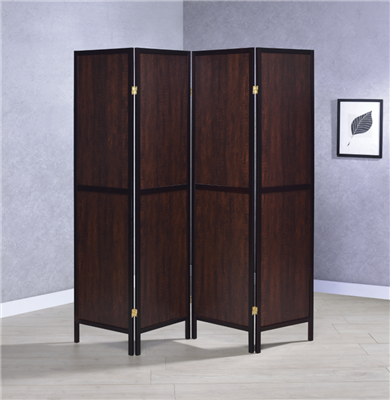 4-Panel Folding Screen Tobacco And Cappuccino
