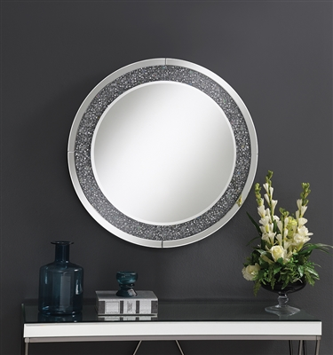 Glam Style Round Wall Mirror w/ Touch LED Lighting