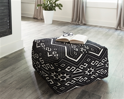 Square Pouf Design Black & White Accent Ottoman