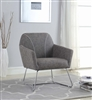 Sachiko Modern Gray & Chrome Accent Chair