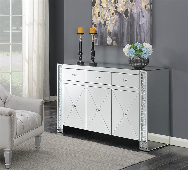 Larae Mirrored Accent Cabinet with Crystal Knobs