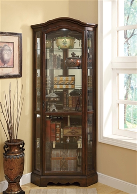Wynona Traditional Corner Curio in Burnished Brown Finish