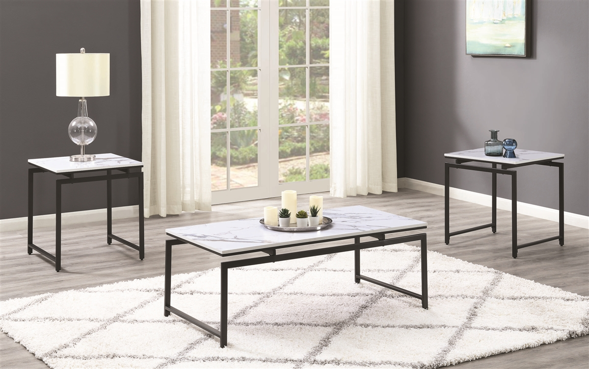 3 Piece Marble Coffee End Table Set