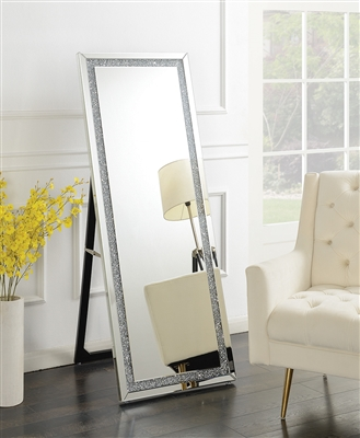 Standing Cheval Mirror w/ Crystal Embellishment