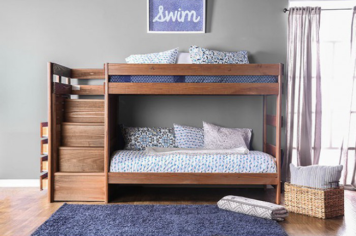 Ampelios Twin Over Twin Bunk Bed With Stairway Chest Furniture Of America Am Bk102