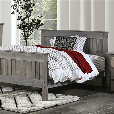 Solid Wood Plank Style Bed in Weathered Grey