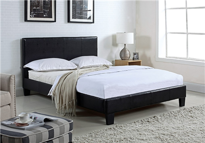 Langley Black Leatherette Full Platform Bed