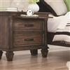 Burnished Oak Finish Nightstand with Pull Out Tray & USB Charging