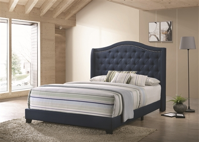 Arielle Camel Back Queen Bed Navy Blue