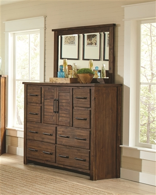 Rustic Style 8 Drawer Dresser with 2 Doors in Vintage Bourbon Finish