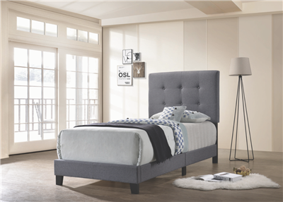 Cora Gunmetal Gray Tufted Twin Bed