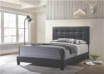 Cora Charcoal Gray Tufted Full Bed