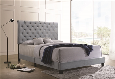 Basil Soft Velvet Upholstered Full Bed Slate Blue
