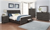 Viktor Rough Sawn Vintage Gray Finish 5 Piece Bedroom Set