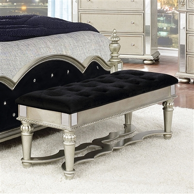 Dania Euro Glam Style Bench with Mirror Accents