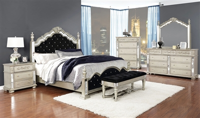 Dania Euro Glam Style Mirrored Poster Bed w/ Black Velvet Upholstered Headboard