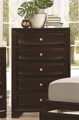 Jaxon collection 5 drawer cappuccino finish chest