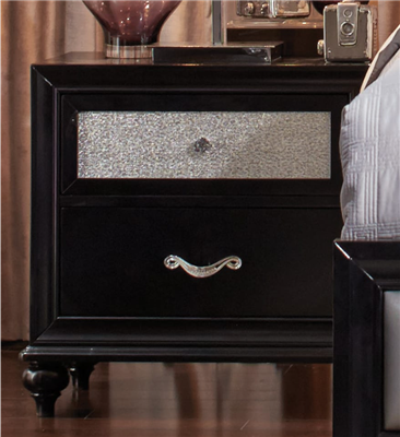 Ansal 2 Drawer Black Finish Nightstand