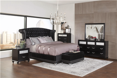 Modern Black Finish Tufted Bedroom Collection With Silver Accent Trim