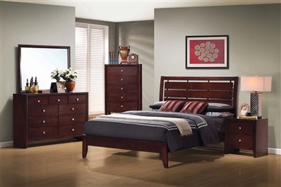 Rich Merlot Finished Transitional Style Bedroom Group