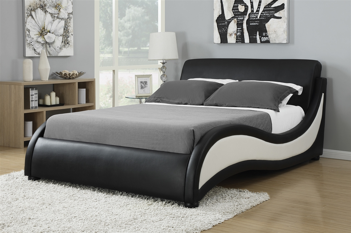 Inez Modern Black White Low Profile Platform Bed