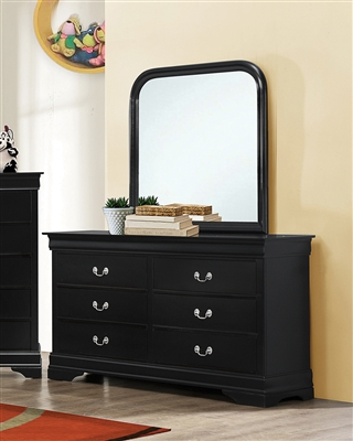 Classic Louis Philippe Style Black Finish Dresser