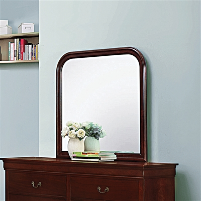 Classic Louis Philippe Style Red Brown Finish Dresser Mirror