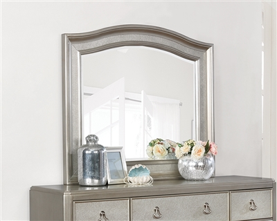 Daliah Metallic Platinum Arched Dresser Mirror