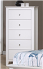 Snow Bright White Cottage Style 5 Drawer Chest