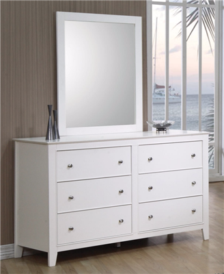 Snow Cottage Style Bright White 6 Drawer Dresser