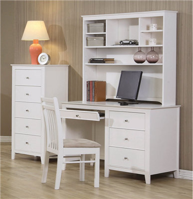 Snow Cottage Style Bright White Computer Desk