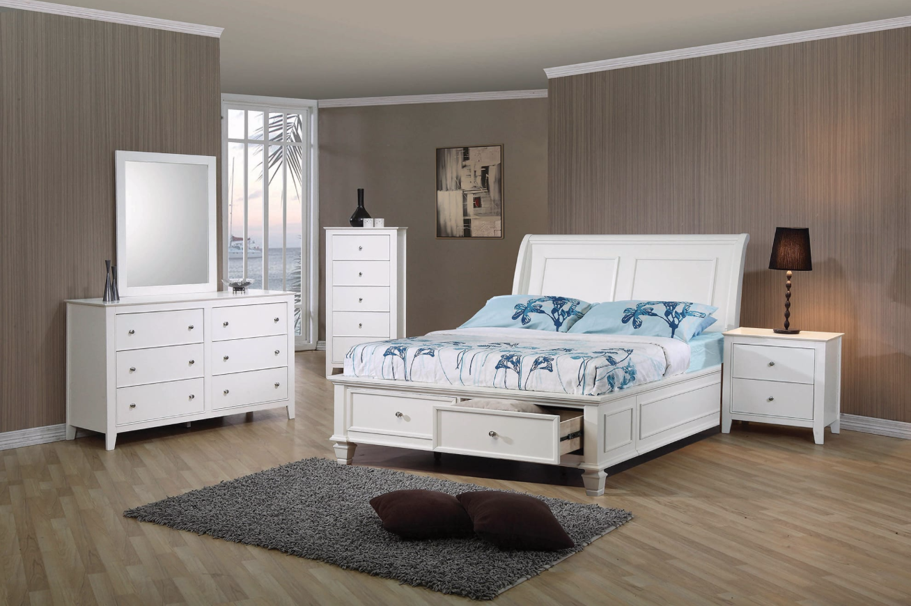Snow Cottage Style Bright White Full Storage Bed