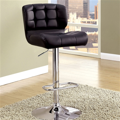 Contemporary Black Leatherette Barstool with Chrome Base